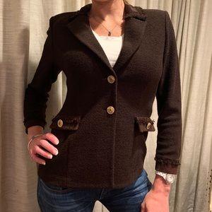 St John brown blazer with suede trim